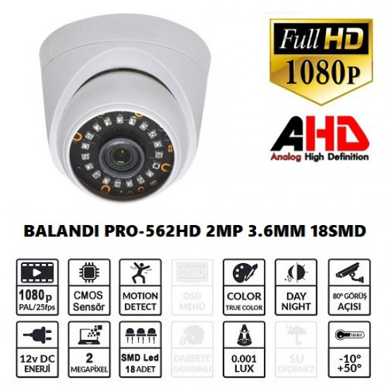 BALANDI PRO-562HD 2MP  AHD Dome Kamera